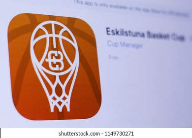 JEMBER, EAST JAVA, INDONESIA, August 05, 2018. Eskilstuna Basket Cup app in play store. close-up on the laptop screen.