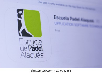 JEMBER, EAST JAVA, INDONESIA, August 05, 2018. Escuela Padel Alaquas app in play store. close-up on the laptop screen.