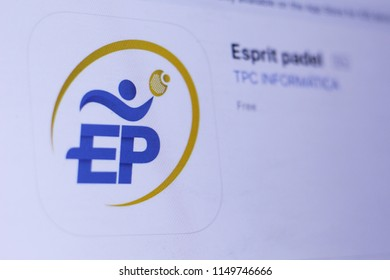 JEMBER, EAST JAVA, INDONESIA, August 05, 2018. Esprit padel app in play store. close-up on the laptop screen.
