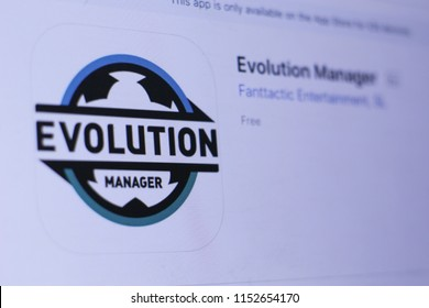 JEMBER, EAST JAVA, INDONESIA, August 09, 2018. Evolution Manager app in play store. close-up on the laptop screen.