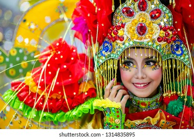 Jember, East Java / Indonesia - August 25, 2013 : Portrait of participant at Jember Fashion Carnival.