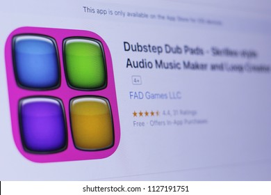 JEMBER, EAST JAVA, INDONESIA, JULY 05, 2018. Dubstep Dub Pads - Skrillex style Audio Music Maker and Loop Creator app in play store. close-up on the laptop screen.