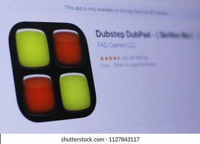 JEMBER, EAST JAVA, INDONESIA, JULY 05, 2018. Dubstep DubPad - ( Skrillex like ) app in play store. close-up on the laptop screen.