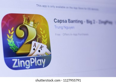 JEMBER, EAST JAVA, INDONESIA, JULY 06, 2018. Capsa Banting - Big 2 - ZingPlay app in play store. close-up on the laptop screen.