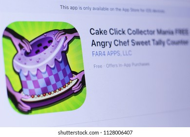JEMBER, EAST JAVA, INDONESIA, JULY 06, 2018. Cake Click Collector Mania FREE - Angry Chef Sweet Tally Counter app in play store. close-up on the laptop screen.