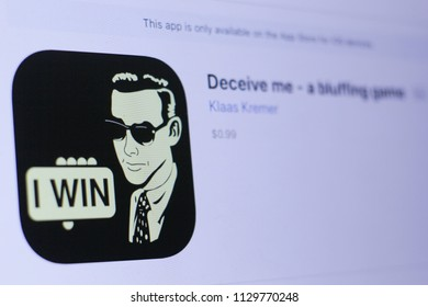 JEMBER, EAST JAVA, INDONESIA, JULY 09, 2018. Deceive me - a bluffing game app in play store. close-up on the laptop screen.