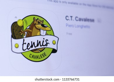JEMBER, EAST JAVA, INDONESIA, JULY 14, 2018. C.T. Cavalese app in play store. close-up on the laptop screen.
