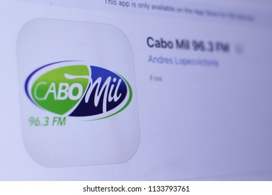 JEMBER, EAST JAVA, INDONESIA, JULY 14, 2018. Cabo Mil 96.3 FM app in play store. close-up on the laptop screen.