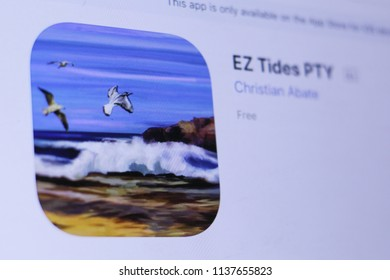 JEMBER, EAST JAVA, INDONESIA, JULY 19, 2018. EZ Tides PTY app in play store. close-up on the laptop screen.