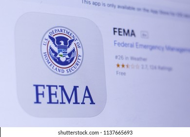 JEMBER, EAST JAVA, INDONESIA, JULY 19, 2018. FEMA app in play store. close-up on the laptop screen.