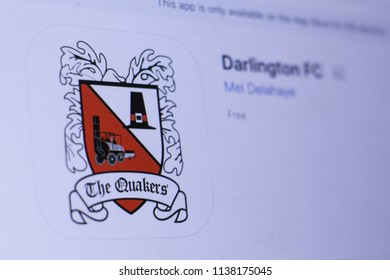 JEMBER, EAST JAVA, INDONESIA, JULY 20, 2018. Darlington FC app in play store. close-up on the laptop screen.