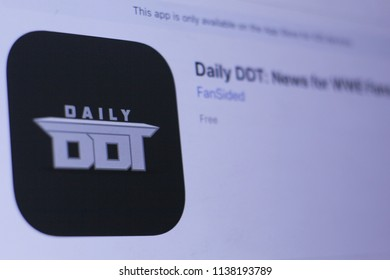 JEMBER, EAST JAVA, INDONESIA, JULY 20, 2018. Daily DDT- News for WWE Fans app in play store. close-up on the laptop screen.