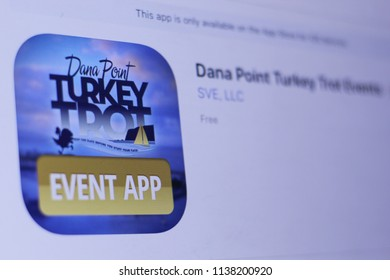 JEMBER, EAST JAVA, INDONESIA, JULY 20, 2018. Dana Point Turkey Trot Events app in play store. close-up on the laptop screen.