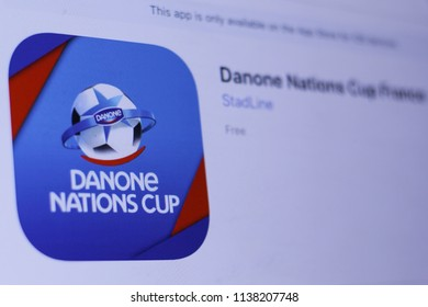 JEMBER, EAST JAVA, INDONESIA, JULY 20, 2018. Danone Nations Cup France app in play store. close-up on the laptop screen.