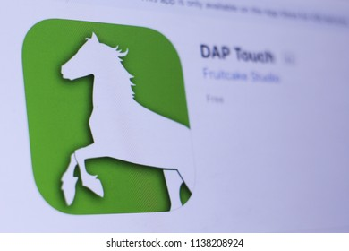 JEMBER, EAST JAVA, INDONESIA, JULY 20, 2018. DAP Touch app in play store. close-up on the laptop screen.