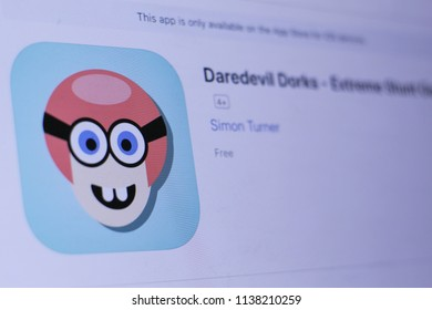 JEMBER, EAST JAVA, INDONESIA, JULY 20, 2018. Daredevil Dorks - Extreme Stunt Geeks app in play store. close-up on the laptop screen.