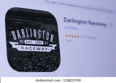JEMBER, EAST JAVA, INDONESIA, JULY 20, 2018. Darlington Raceway app in play store. close-up on the laptop screen.