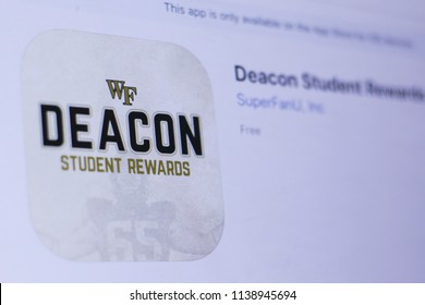 JEMBER, EAST JAVA, INDONESIA, JULY 21, 2018. Deacon Student Rewards app in play store. close-up on the laptop screen.