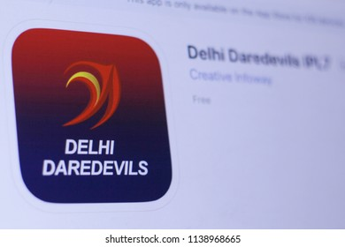 JEMBER, EAST JAVA, INDONESIA, JULY 21, 2018. Delhi Daredevils IPL7 app in play store. close-up on the laptop screen.