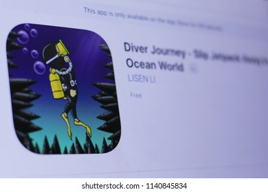 JEMBER, EAST JAVA, INDONESIA, JULY 23, 2018. Diver Journey - Slip Jetpack Away in Ocean World  app in play store. close-up on the laptop screen.