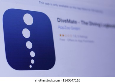 JEMBER, EAST JAVA, INDONESIA, JULY 23, 2018. DiveMate - The Diving Logbook app in play store. close-up on the laptop screen.