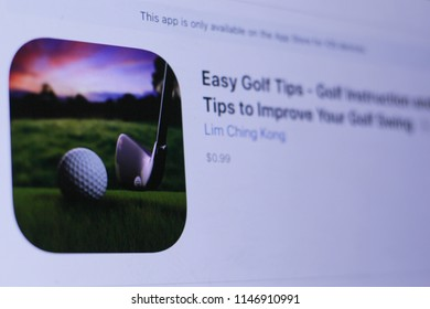 JEMBER, EAST JAVA, INDONESIA, JULY 31, 2018. Easy Golf Tips - Golf Instruction and Tips to Improve Your Golf Swing  app in play store. close-up on the laptop screen.