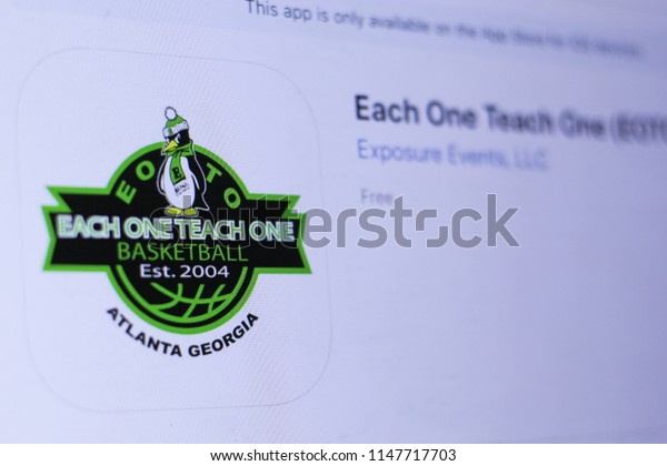 JEMBER, EAST JAVA, INDONESIA, JULY 31, 2018. Each One Teach One (EOTO) app in play store. close-up on the laptop screen.
