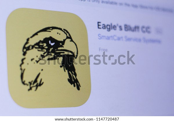 JEMBER, EAST JAVA, INDONESIA, JULY 31, 2018. Eagle's Bluff CC app in play store. close-up on the laptop screen.
