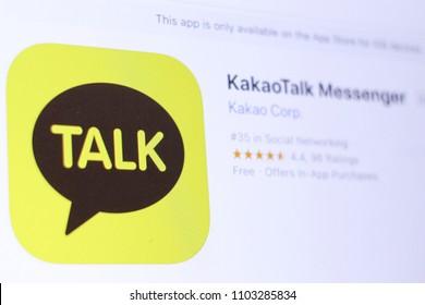 JEMBER, EAST JAVA, INDONESIA, JUNE 01, 2018. KakaoTalk Messenger app in App Store. Close-up on the laptop screen.