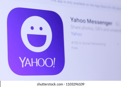 JEMBER, EAST JAVA, INDONESIA, JUNE 01, 2018. Yahoo Messenger app in App Store. Close-up on the laptop screen.