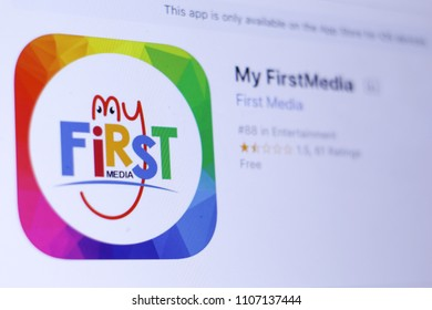 JEMBER, EAST JAVA, INDONESIA, JUNE 06, 2018. My FirstMedia app in play store. close-up on the laptop screen.