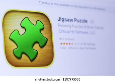 JEMBER, EAST JAVA, INDONESIA, JUNE 07, 2018. Jigsaw Puzzle app in play store. close-up on the laptop screen.