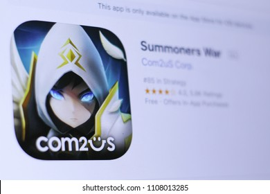 JEMBER, EAST JAVA, INDONESIA, JUNE 07, 2018. Summoners War app in play store. close-up on the laptop screen.