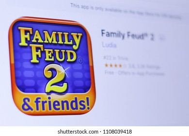 JEMBER, EAST JAVA, INDONESIA, JUNE 07, 2018. Family Feud® 2 app in play store. close-up on the laptop screen.