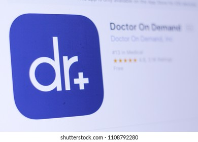 JEMBER, EAST JAVA, INDONESIA, JUNE 09, 2018. Doctor On Demand app in play store. close-up on the laptop screen.