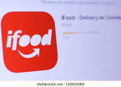 JEMBER, EAST JAVA, INDONESIA, JUNE 10, 2018. iFood - Delivery de Comida app in play store. close-up on the laptop screen.