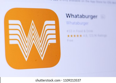 JEMBER, EAST JAVA, INDONESIA, JUNE 10, 2018. Whataburger app in play store. close-up on the laptop screen.