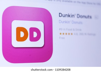 JEMBER, EAST JAVA, INDONESIA, JUNE 10, 2018. Dunkin' Donuts app in play store. close-up on the laptop screen.