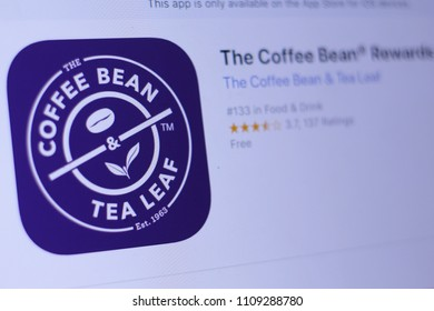 JEMBER, EAST JAVA, INDONESIA, JUNE 10, 2018. The Coffee Bean® Rewards app in play store. close-up on the laptop screen.