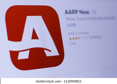 JEMBER, EAST JAVA, INDONESIA, JUNE 12, 2018. AARP Now app in play store. close-up on the laptop screen.