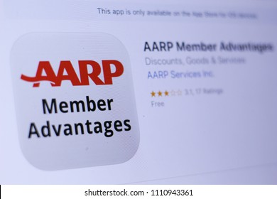 JEMBER, EAST JAVA, INDONESIA, JUNE 12, 2018. AARP Member Advantages app in play store. close-up on the laptop screen.