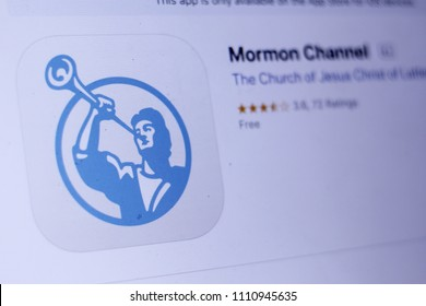 JEMBER, EAST JAVA, INDONESIA, JUNE 12, 2018. Mormon Channel app in play store. close-up on the laptop screen.