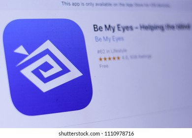JEMBER, EAST JAVA, INDONESIA, JUNE 12, 2018. Be My Eyes – Helping the blind app in play store. close-up on the laptop screen.