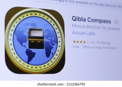JEMBER, EAST JAVA, INDONESIA, JUNE 13, 2018. Qibla Compass app in App Store. Close-up on the laptop screen.