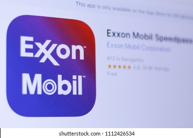 JEMBER, EAST JAVA, INDONESIA, JUNE 13, 2018. Exxon Mobil Speedpass+ app in App Store. Close-up on the laptop screen.