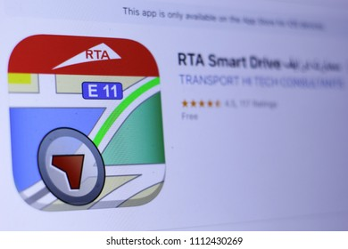 JEMBER, EAST JAVA, INDONESIA, JUNE 13, 2018. RTA Smart Drive ????? ????? app in App Store. Close-up on the laptop screen.