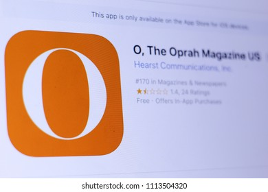 JEMBER, EAST JAVA, INDONESIA, JUNE 14, 2018. O, The Oprah Magazine US app in play store. close-up on the laptop screen.