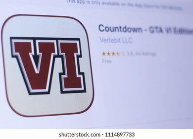 JEMBER, EAST JAVA, INDONESIA, JUNE 17, 2018. Countdown - GTA VI Edition app in play store. close-up on the laptop screen.