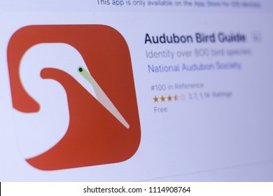 JEMBER, EAST JAVA, INDONESIA, JUNE 17, 2018. Audubon Bird Guide app in play store. close-up on the laptop screen.
