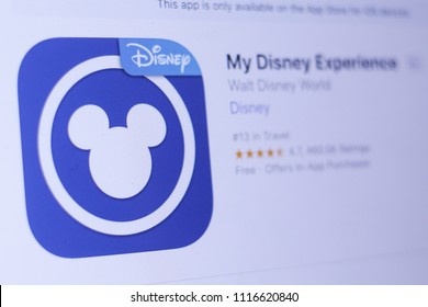 JEMBER, EAST JAVA, INDONESIA, JUNE 19, 2018. My Disney Experience app in play store. close-up on the laptop screen.
